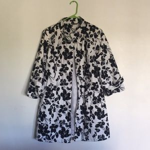 Madison Floral Print Coat Black and White